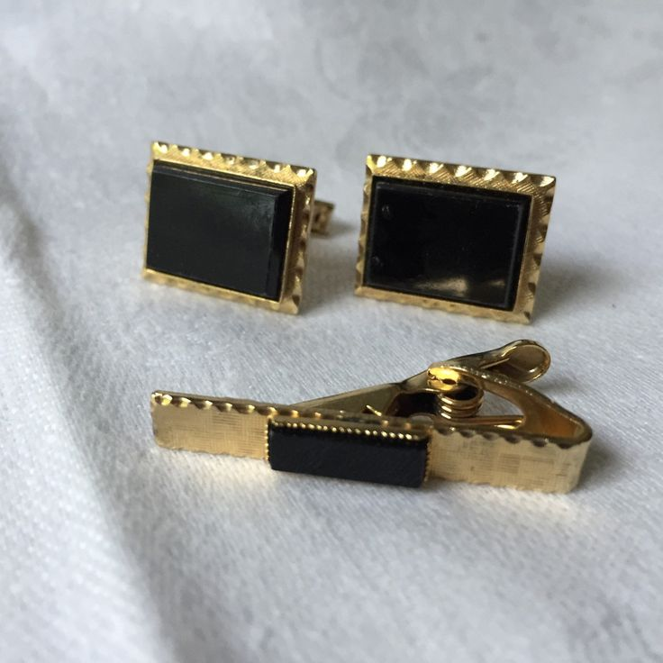 ON SALE VALENTINE Men's Cufflinks Tie Clip Set For French Cuff Black and Gold rectangle set by StudioVintage on Etsy