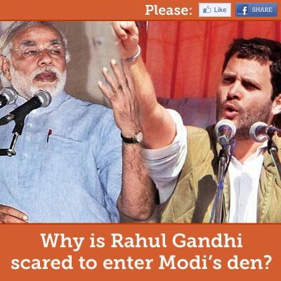 Why is Rahul Gandhi scared to enter Modi's den?   MODI TO WIN
