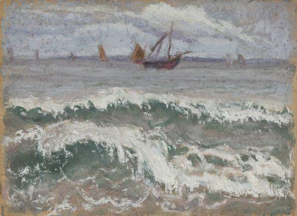 Wzburzone morze z łodziami - Tadeusz Makowski
