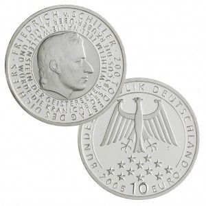 """BRD 10 Euro 2005 """"200. Todestag Friedrich von Schiller"""", 925er Silber, 18g, Ø 32,5mm, Prägestätte G (Karlsruhe), st Auflage: 1.800.000, PP Auflage: 300.000, Jaeger-Nr. 513"""