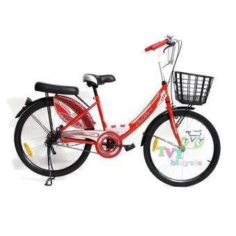 """ลดราคา  LA Bicycle จักรยาน รุ่น 24"""" CITY STEEL RIM ( สีแดง )  ราคาเพียง  3,100 บาท  เท่านั้น คุณสมบัติ มีดังนี้ ขนาดล้อ 24 แข็งแรงทนทาน& เฟรมรถทำจากเหล็กอย่างดี& พร้อมเบาะหน้าหลังแบบนุ่ม&"""