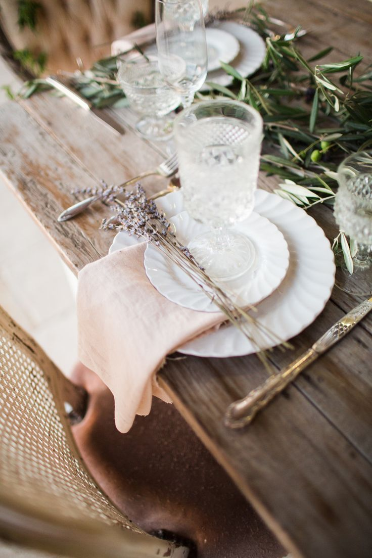 Rustic Elegance - Place Setting with a sprig of Lavender | See more wedding #inspiration on SMP: http://www.StyleMePretty.com/california-weddings/2013/12/05/french-inspiration-shoot-from-jen-wojcik-photography/ Jen Wojcik Photography