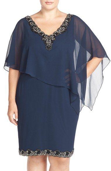 J Kara Beaded Trim Chiffon Overlay Sheath Dress (Plus Size) available at #Nordstrom