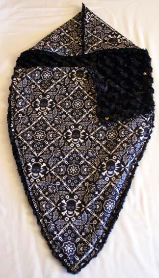 Punk Rock Baby Snuggle Sacque Blanket: Black Skull Bandana