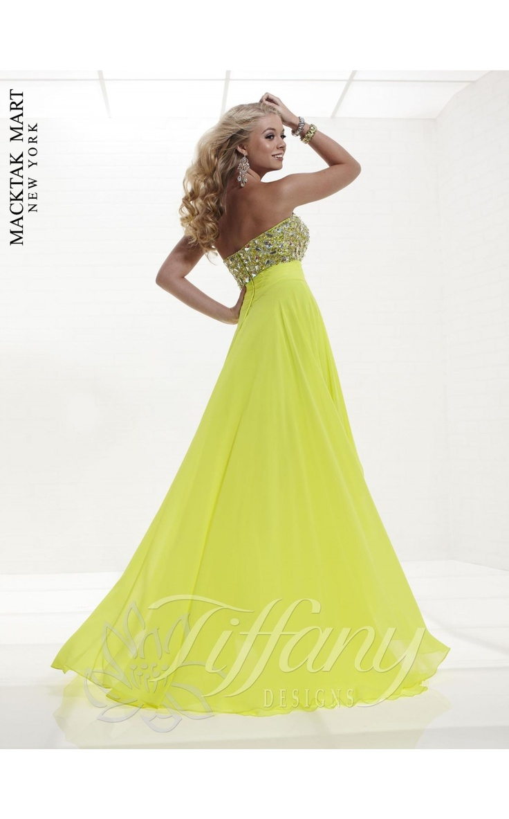 Tiffany 16775 neon color dress #green #lemon #strapless #long #prom