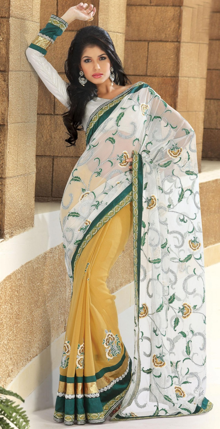 Yellow and Ivory Chiffon,Faux Georgette Party Wear Saree 14214 With Unstitched Blouse £61.98