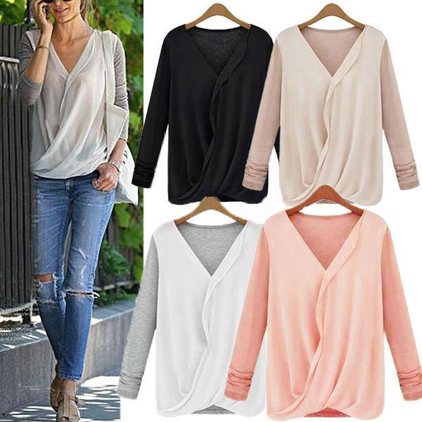 Sexy Womens V Neck Chiffon Long Sleeve Casual Blouse Wrap Tee Shirt Tops UK 8-18