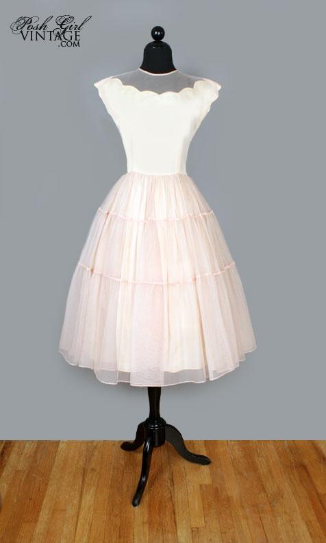 1950's Blush Nude Beige Tea Length Chiffon Dress. Love the scallops...