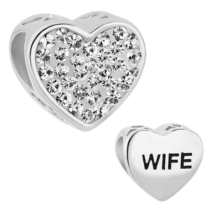 LovelyCharms 925 Sterling Silver Wife Heart White Birthstone Beads Sale Fit Pandora Bracelets. 925 Sterling Silver Charm. Hole Size: 4.5mm-5mm. Dimension:10.00*10.00*8.00mm, Weight:1.5g. Compatible with European Bracelets. Money-back Satisfaction Guarantee.