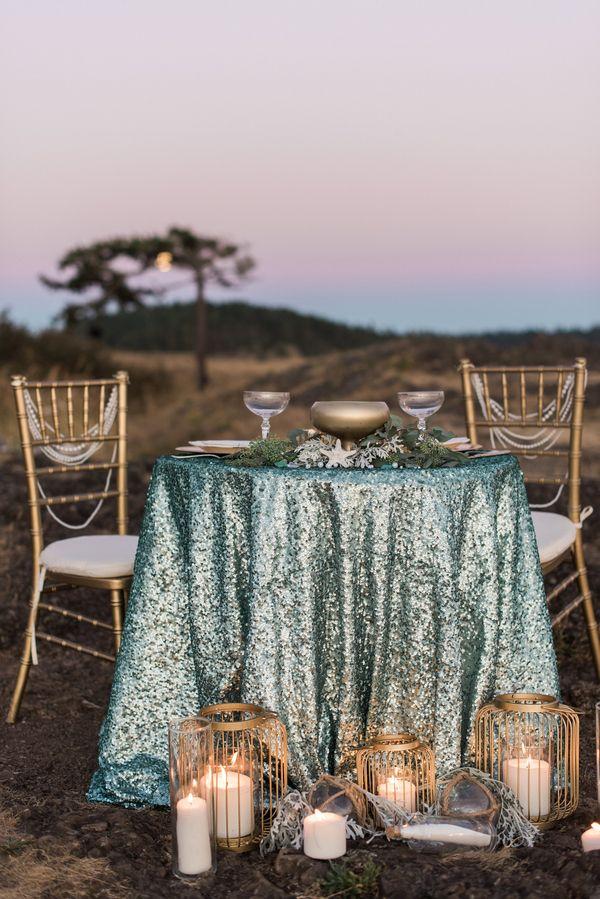 Aqua and Copper Sequin Sweetheart Table | B. Jones Photography | http://heyweddinglady.com/glam-mermaid-wedding-moonlit-coast/