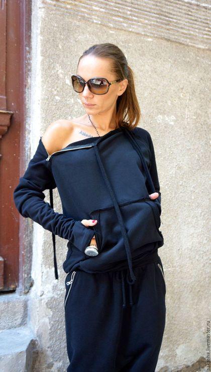 Свитшот кофта на молнии черная толстовка стильная одежда стиль гранж модная одежда стильная кофта