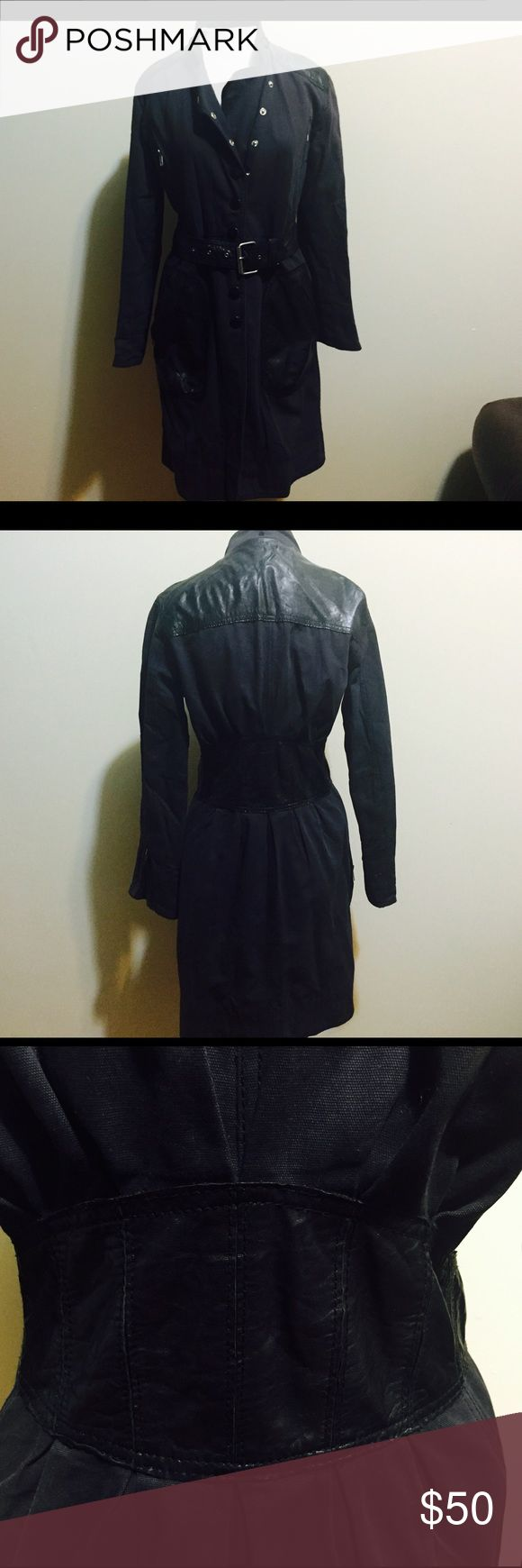 Catherine Maldandrino small leather detail jacket Catherine Maldandrino small leather detail jacket .. Lining is thorn inside look at picture outside is in excellent condition Catherine Malandrino Jackets & Coats Trench Coats