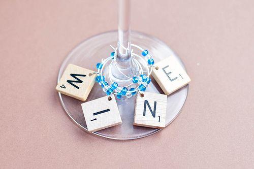 Scrabble wine charm