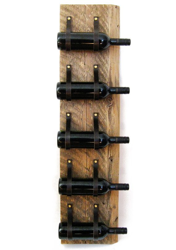 Wood & Leather Wine Rack reclaimed wood and recycled leather 5 Bottle wall bottle holder