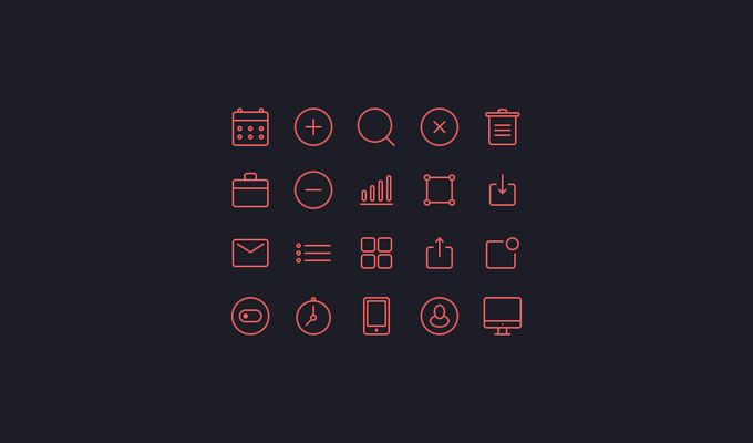 Small Pink Icons Free PSD