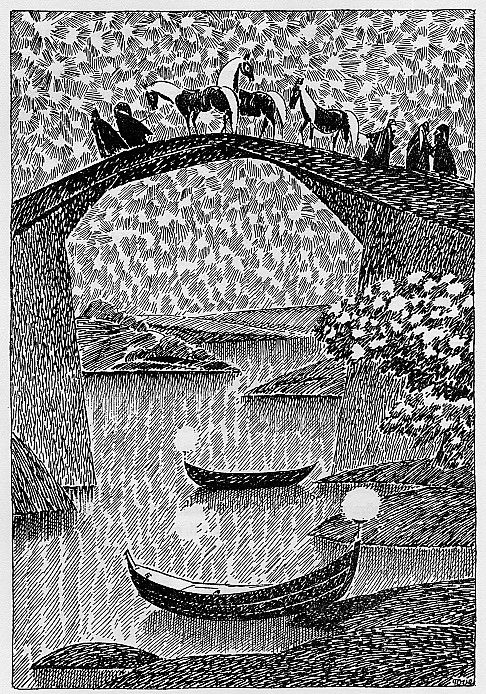 One of Tove Jansson's illustrations for a version of The Hobbit-- look how the stars are made in the night sky!