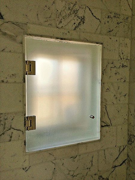 acid etch privacy door to cover a window in a shower