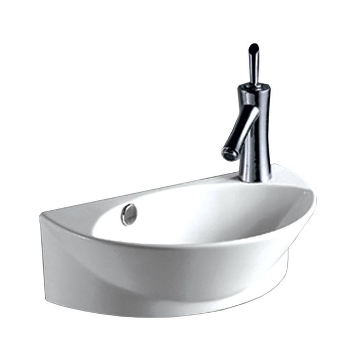 Whitehaus Isabella Half Oval Wall Mount Basin with Integrated Oval Bowl