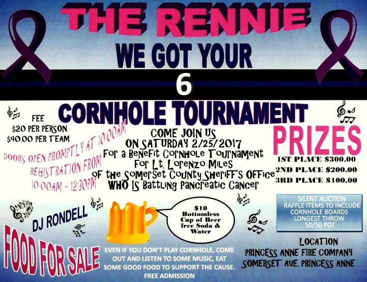 2/25/17 in Princess Anne,MD. Lt. Rennie Miles has been a beloved and respected member of the Somerset County Sheriff's Office (MD) and sadly he was recently diagnosed with pancreatic cancer. His friends are organizing a one-day benefit Cornhole Tournament.