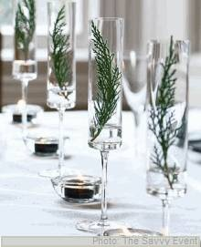modern winter design in halo pedestal vases...love the simplicity!