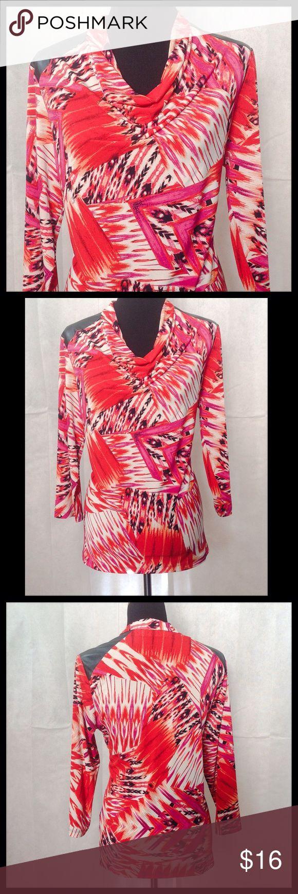 """Susan Graver Oversized Blouse Susan Graver multi-color blouse with faux leather shoulder patch. Bust 46"""". Susan Graver Tops Tunics"""