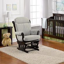 The best mid priced traditional glider - more comfortable than Dutalier of same price range. Best Chairs Charleston Glider  Espresso Wood/Dove Fabric - (ask them to coupon match and use a Buy Buy Baby 20% off coupon). Made in USA of imported parts.