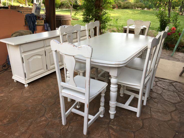 Nuevo look para un comedor de pino provenzal. By Alexsandra.  New look for a provincial pine dining set, by Alexsandra