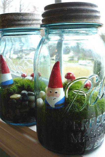 Cute mason jar terrariums. #jars #terrariums #gnomes