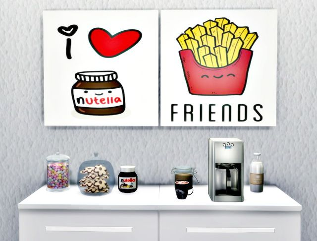 Art Wall Sweet Cute Kitchen at Lily Sims • Sims 4 Updates