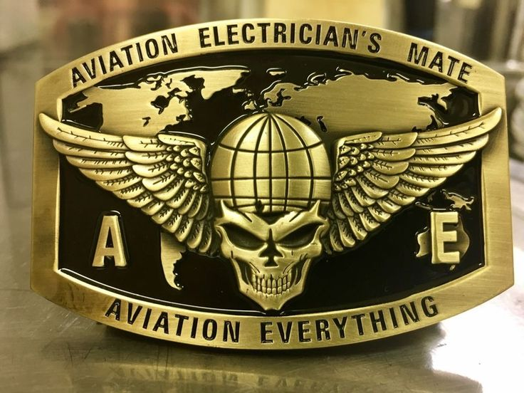 Aviation Electrician's Mate Custom Belt Buckle (Gold)
