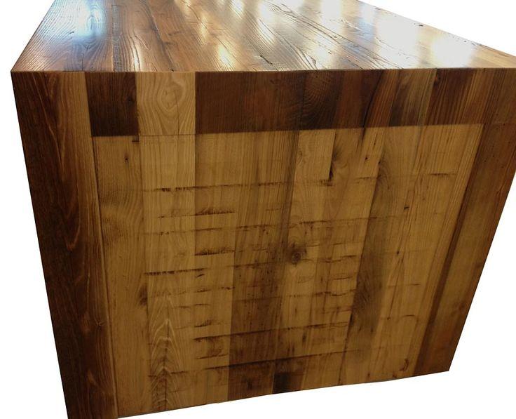Reclaimed Chestnut Pastore Waterfall Counter in Virginia  https://www.glumber.com - 62 Best Reclaimed Wood Countertops Images On Pinterest Wood