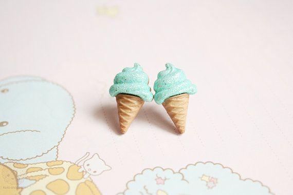 Mint icecream earring studs  kawaii miniature jewelry by kukishop, $8.00
