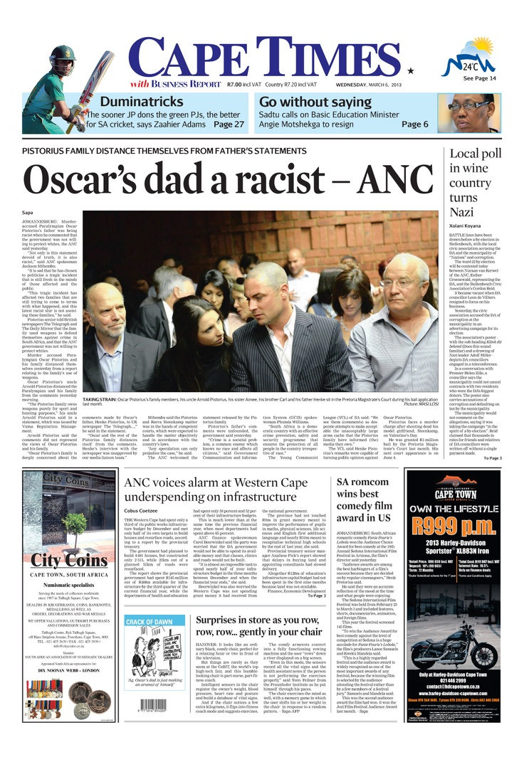 News making headlines: Oscar's dad a racist - ANC