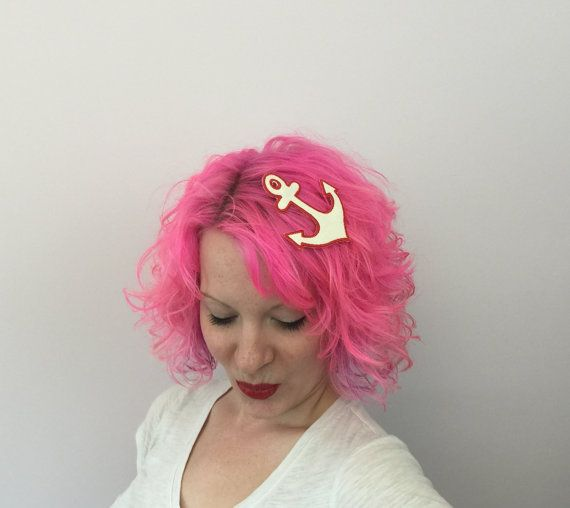 RTS Glitter Anchor Fascinator Mini Hat: Kitsch by MiniHatsbyADO