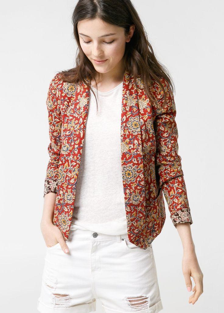 Open-front printed blazer