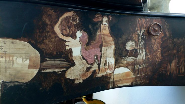 Painting on the side of a piano (detail)