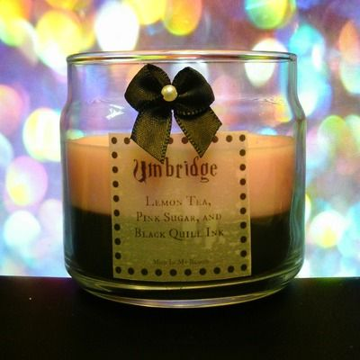Umbridge scented 4oz candle- lemon tea, pink sugar, and black quill ink