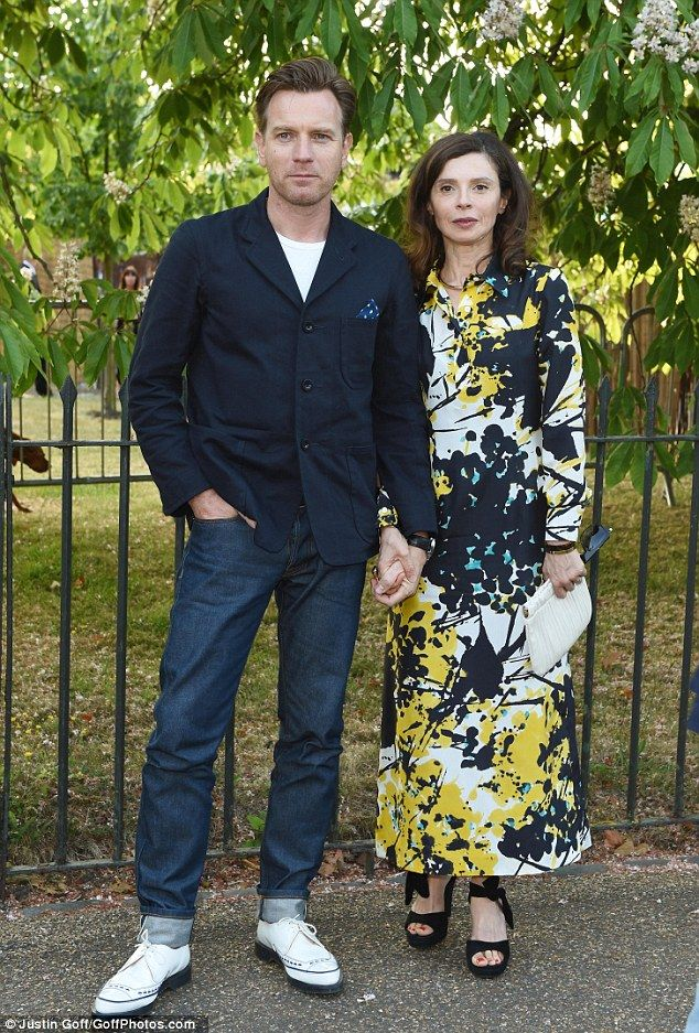 Date night: Ewan McGregor is rarely spotted out and about with his glamorous wife, Eve Mavrakis - but the pair stepped out at the Serpentine Gallery Summer Party on Thursday