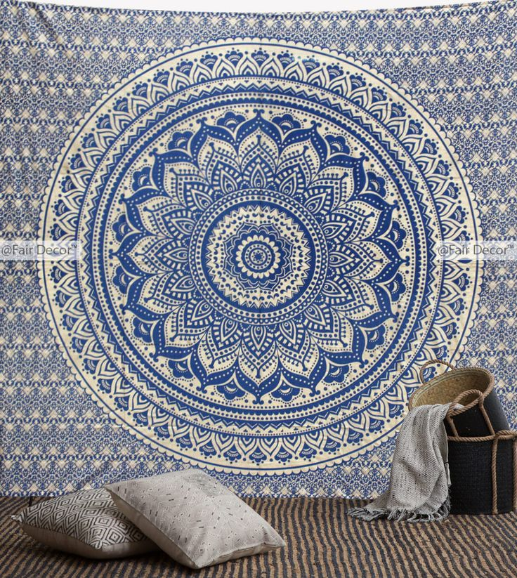 Shop Royal Blue And Gold Ombre Mandala Tapestry Wall Hanging At Cheap  Price. The Gorgeous Tapestry Is Perfect For Wall Hanging, Room Decoration,  ...