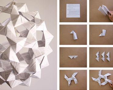 Lampara de papel origami icosaedro Paper lamp pasos 1