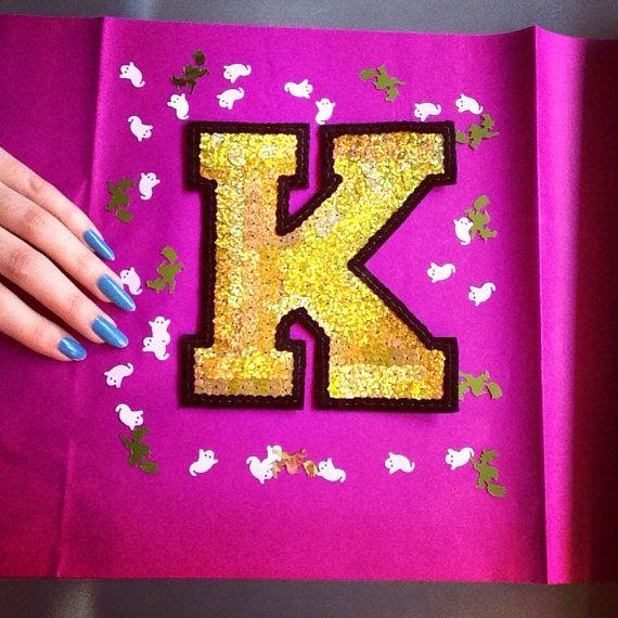 Custom Sequin Letter Applique by KingSophiesWorld on Etsy #kingsophiesworld #etsy #patch #patches #jacket #embroidered #feminist #slutpride #embellished #custom #diy #varsity #name #letter