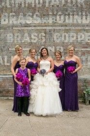 Purple Wedding - Purple Sequin Bridesmaid Gowns and Red-Violet Orchid Bridesmaid Bouquets