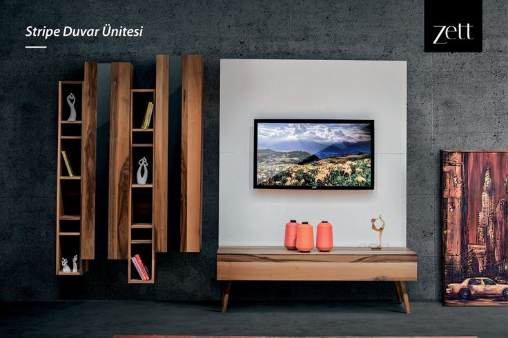 TV izlemek artık Stripe Duvar Ünitesi ile çok daha keyifli! www.zettdekor.com #Zett #Zettdekor #Mobilya #Dekorasyon #Aksesuar