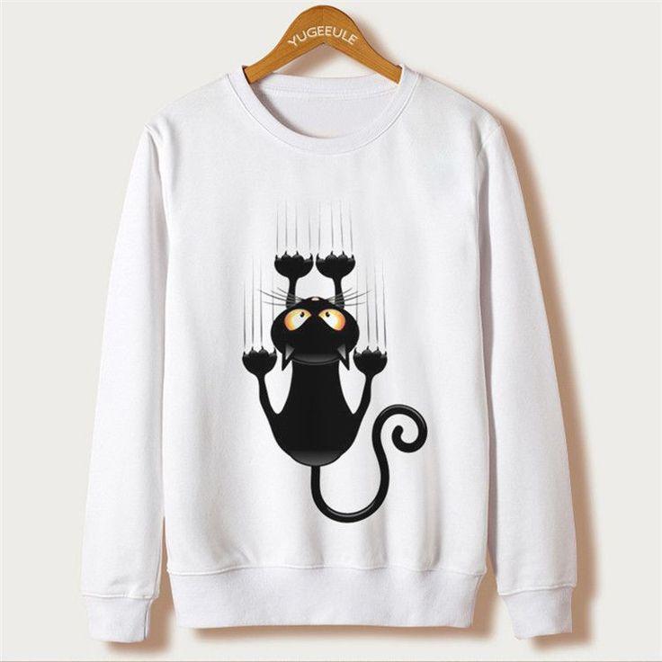 HOT Cat Print 2016 Autumn Harajuku Sweatshirt Women Hoodies Full Sleeve O-neck Felpe Donna Moletom Casual Tracksuit Femme Hoody
