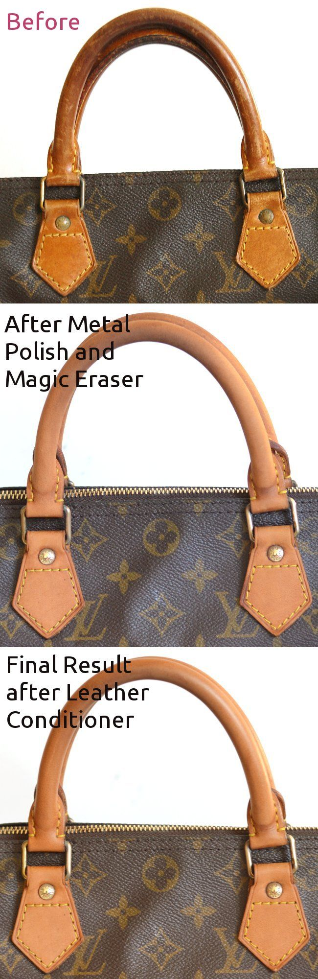 Louis Vuitton leather handles refurbishment lighten and even patina