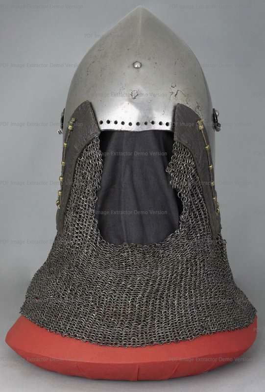Bascinet with Aventail, Wallace Collection, London  1360-1380 ref_arm_1594_004 Composite helmet, as it can be seen that originally the skull had a center hinged visor. The aventail also is a mix of various patches of mail put together in the early XX century, as are the vervelles as well.