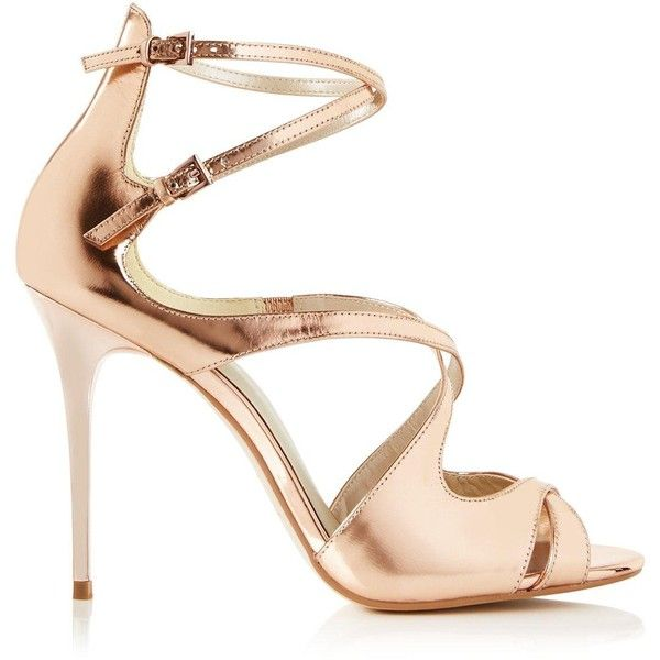Karen Millen Metallic High Heel Strappy Sandals ($190) ❤ liked on Polyvore featuring shoes, sandals, rose gold, rose gold metallic shoes, high heel sandals, high heel shoes, strappy high heel sandals and strappy high heel shoes