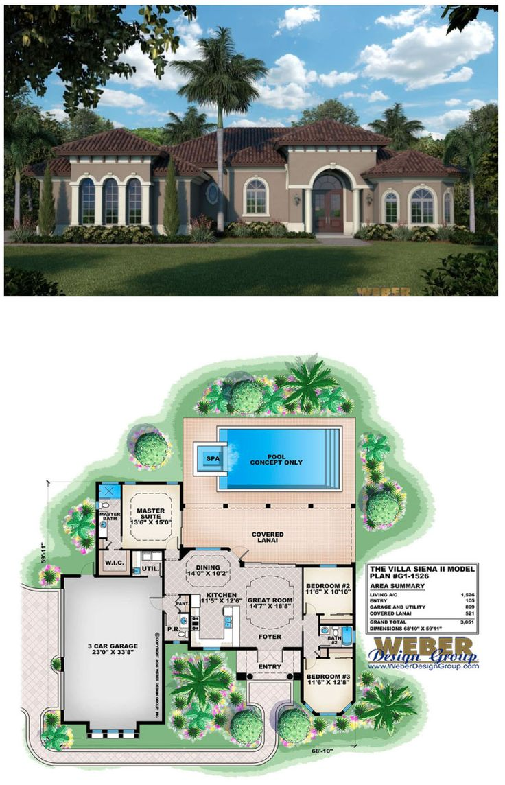 A traditional floor plan with 3 bedrooms and 2.5 baths, the Villa Siena II house plan offers an oversized 3 car garage and a Mediterranean facade composed of a stucco finish, large round columns and archtop windows.  More beach house plans:  https://www.weberdesigngroup.com/home-plans/style/beach-house-plans