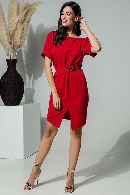 c63715206d22 Φόρεμα με ζωνάκι στη μέση κόκκινο