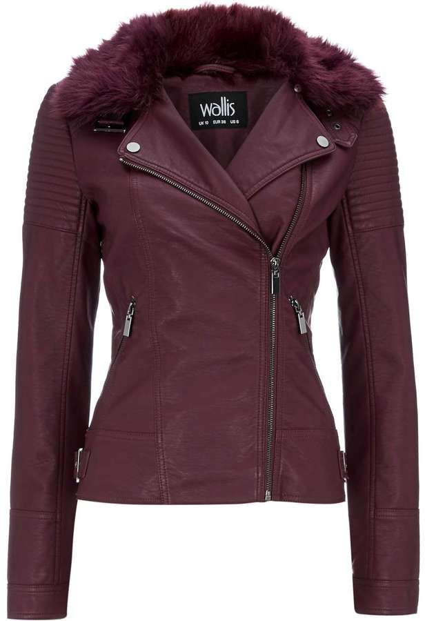 Berry Faux Fur Collar Biker Jacket
